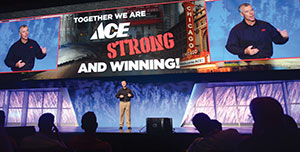 "John Surane, Ace Executive Vice President of Marketing, Merchandising and  Sales: ""In three years, wholesale sales have increased to $1.2 billion, bottom line profit has increased to $65 million and retail  sales are at $2 billion. Find another retailer growing at that rate."""