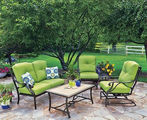 View the latest trends in patio sets and more at the Outdoor Living booth.